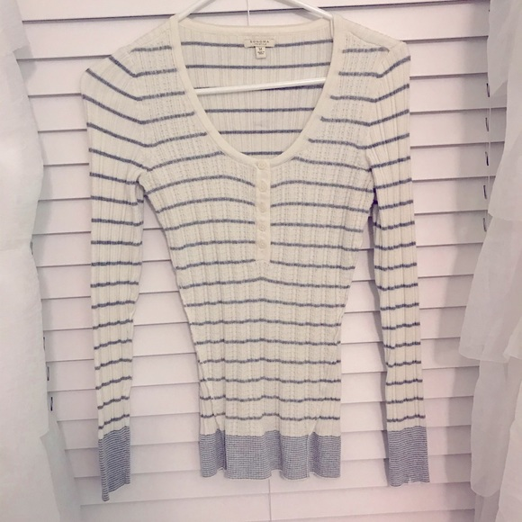 Grey striped long sleeve sweater